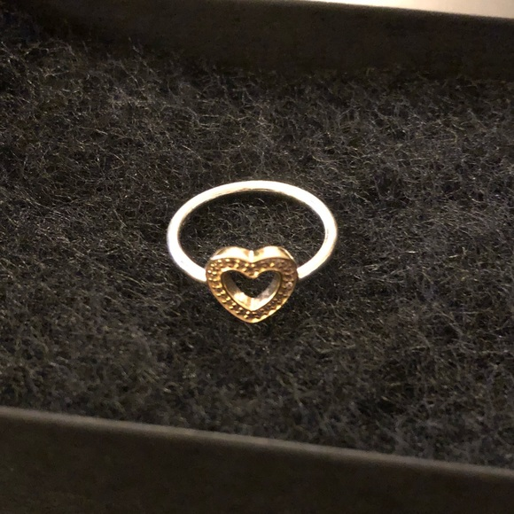a0ae6d38c norway pandora silver and gold heart ring 2d824 fd385